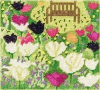 Der feine Faden Stickpackung Bank im Tulpenbeet